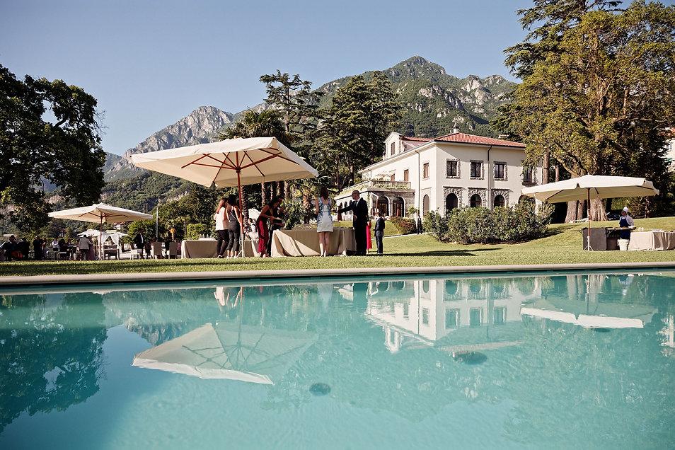 19. Pool party wedding reception at Vill