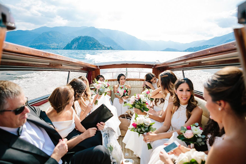 Lake Como wedding party arriving by boat