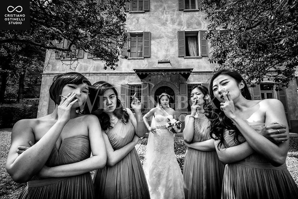 3. The bridal party at Villa Regina Teod