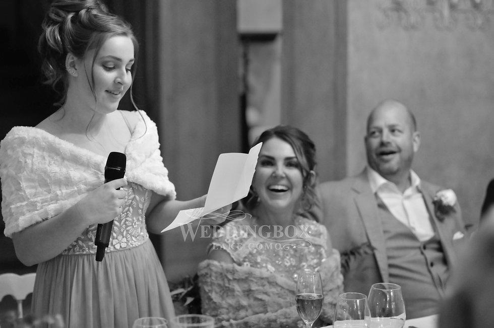 Wedding speeches at Villa Teodolinda in