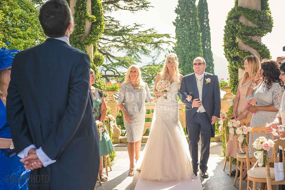 9. Bride walks up the aisle at Villa Bal