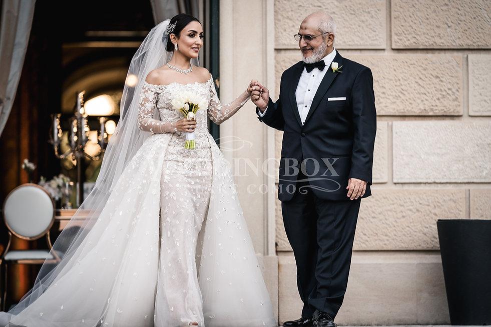 4. Villa Erba bride greets her father.jp