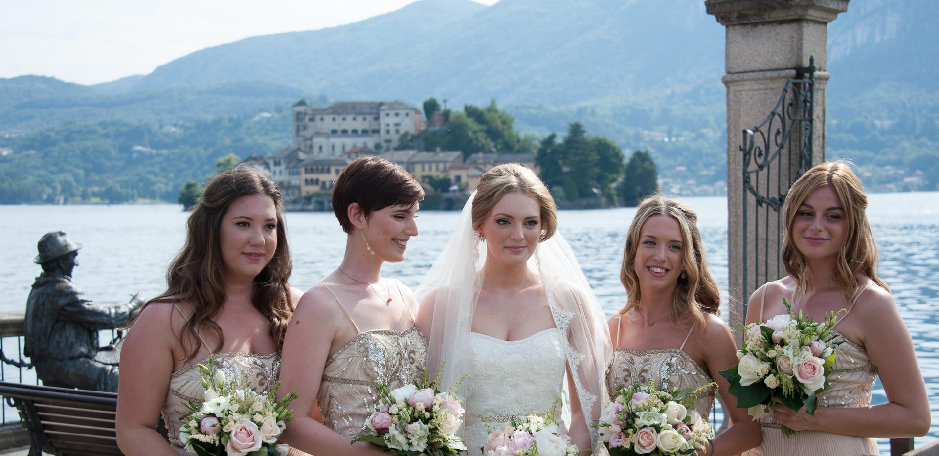 7. Bride & bridesmaids at Villa Bossi La