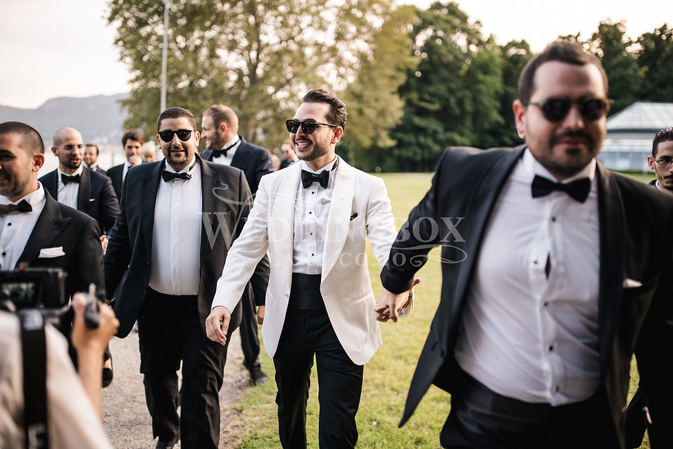 6. Groom and groomsmen arrive at Villa E
