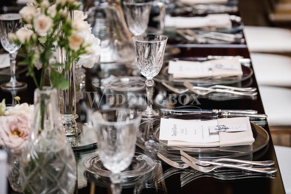 20. Mirror tables, glass underplates. La