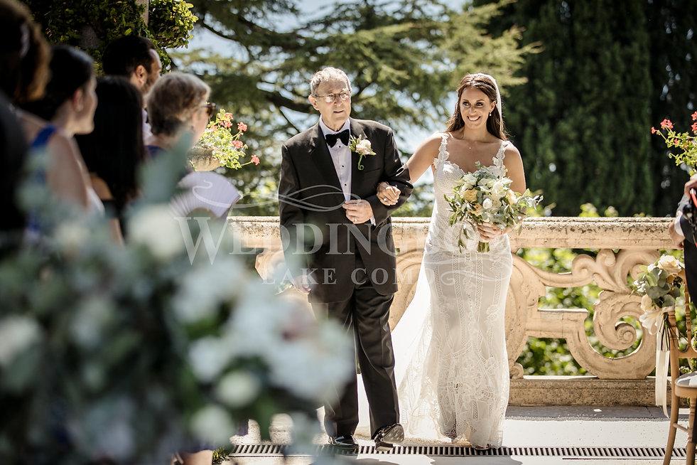 The bride's entrance. Lake Como, Italy w