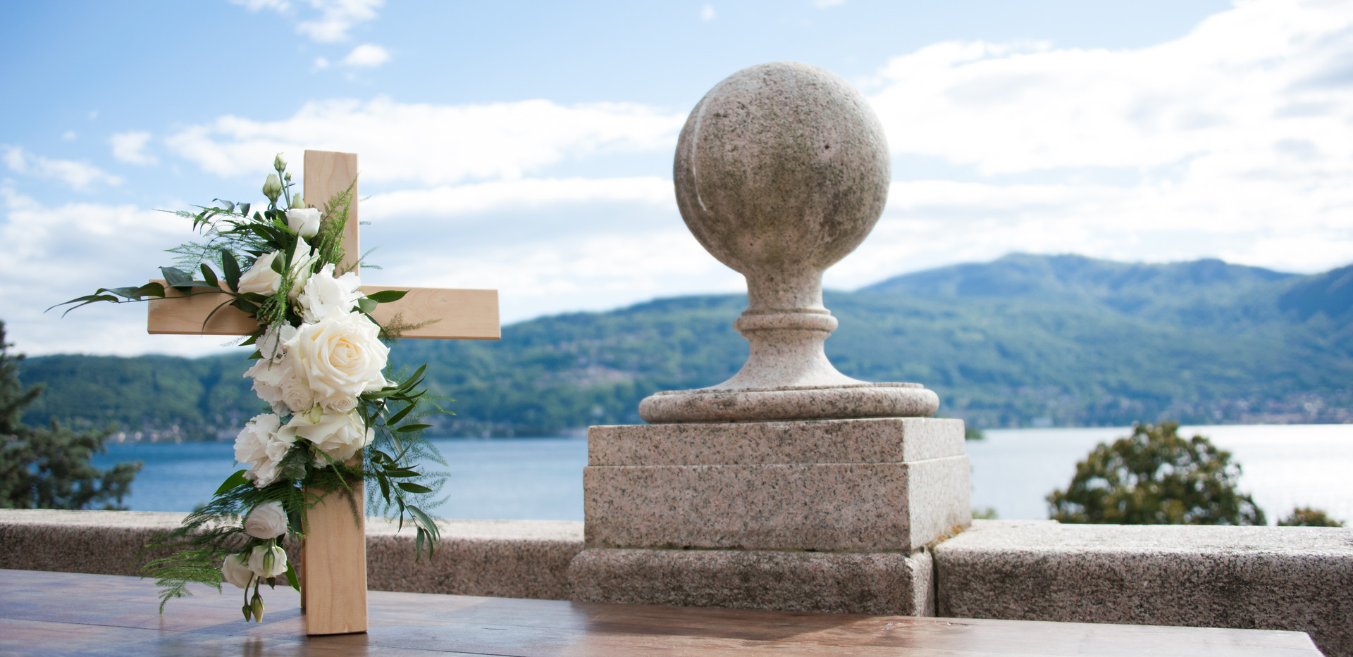 Civil wedding ceremony with views over L