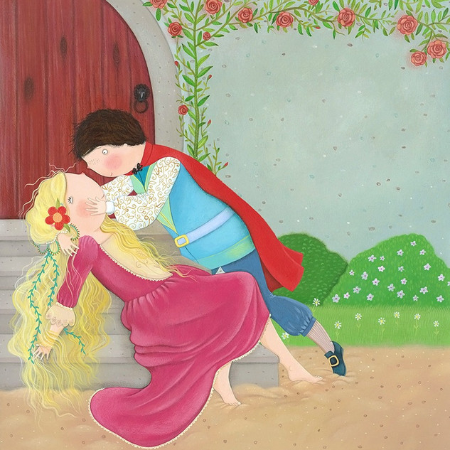 The little mermaid sat down to rest and soon fell fast asleep. When she awoke, the prince was there.