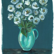 Green Jug with Lisianthus