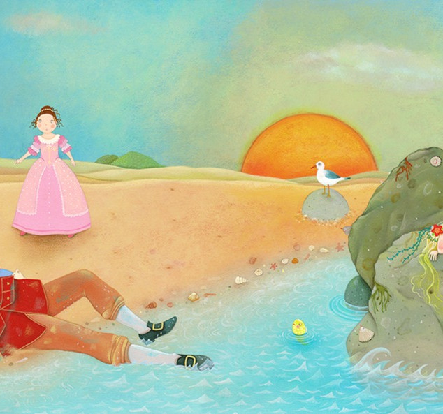 She pushed the prince onto the warm, dry sand. Suddenly a princess appeared from the castle.