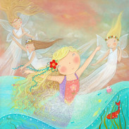 The little mermaid found herself being lifted up by spirits to do good deeds around the world, and was happy at last.