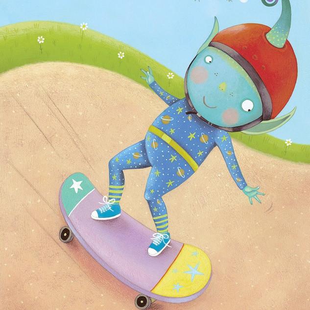 Alien skateboarding