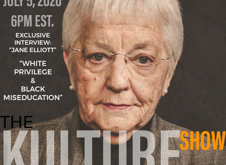 "Jane Elliott speaks on ""White Privilege and Black Miseducation"" 6 PM EST."