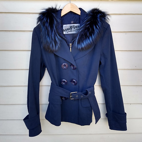 Air Field Navy Hooded Jacket with detachable fox fur, Size S/M