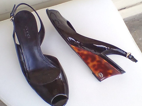 Gucci Black Shoes with Tortoise Wedges, Size 7/7.5