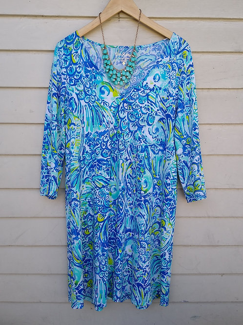 Lilly Pulitzer Turquoise Dress, Size L; Necklace
