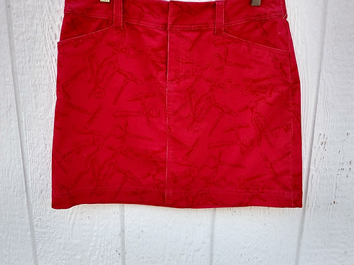Lilly Pulitzer Red Corduroy Skirt, Size 8