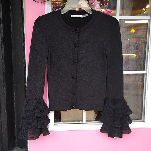 Alice + Olivia Black Sweater with Silver Threads, Size XS