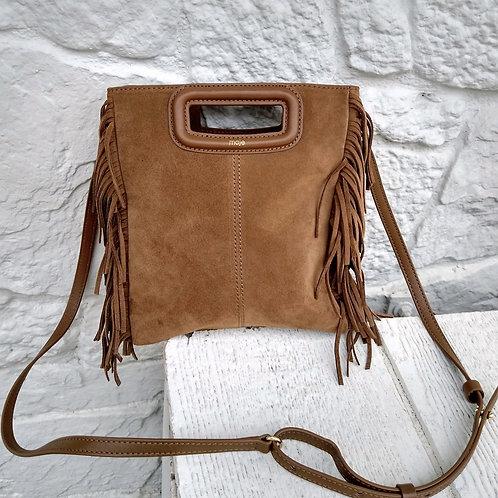 Maje Brown Suede Crossbody Bag