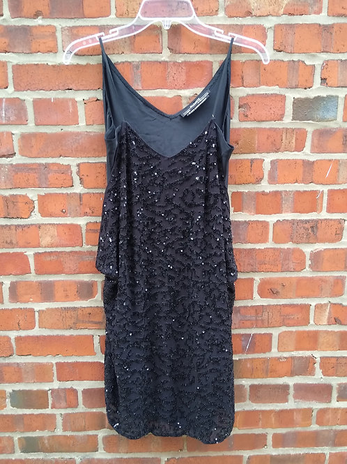 Allsaints Black Dress with Beaded Wrap, Size 2