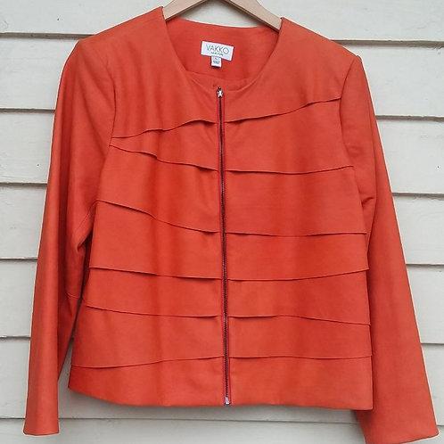 Vakko Orange Lamb Leather Jacket, Size L