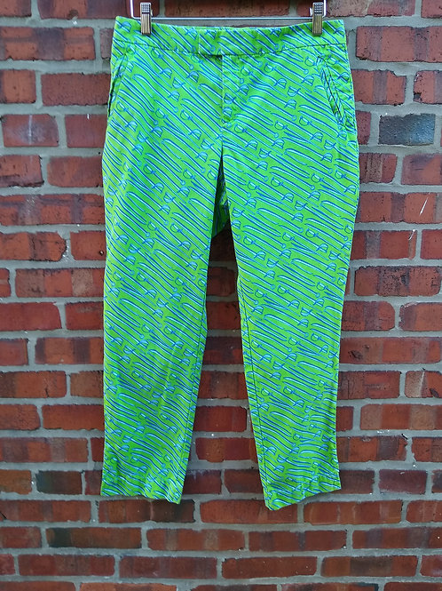 Lilly Pulitzer Green Cropped Pants, Size 6
