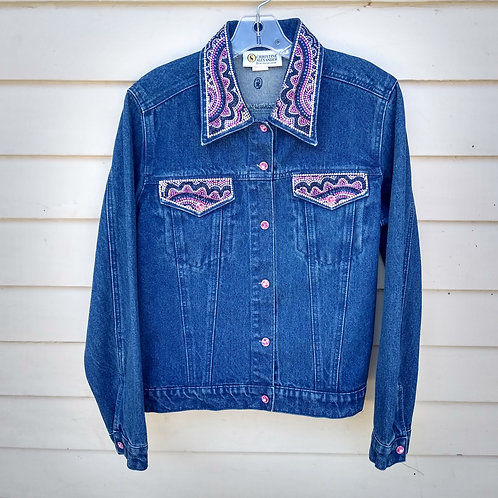 Christina Alexander Beaded Denim Jacket, Size M