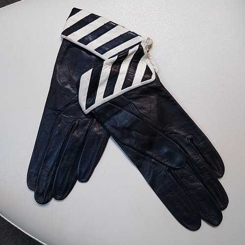 Black & White Leather Gloves, Size S
