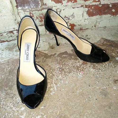 Jimmy Choo Black Patent Shoes, Size 6