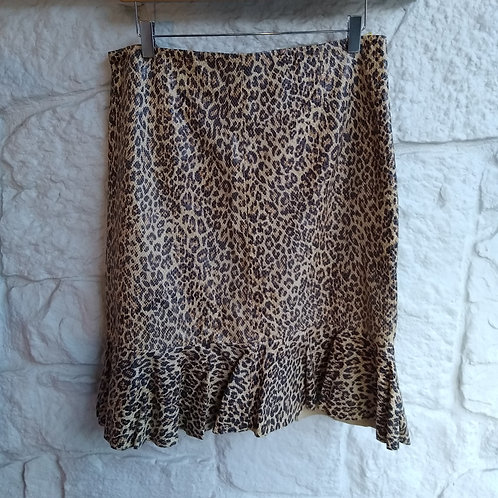 Brandon Thomas Leopard Print Leather Skirt, Size 12