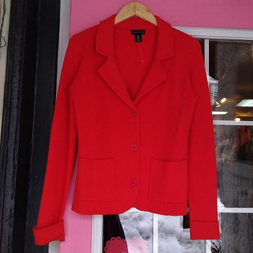 Adrienne Vittadini Red Knit Jacket, Size S