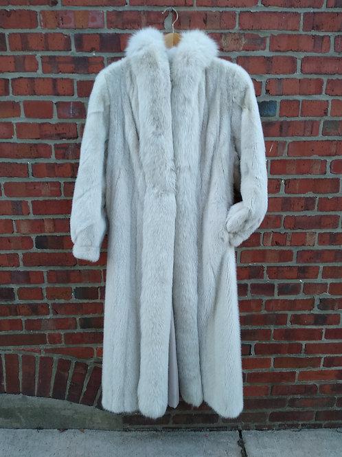 Lindsay Furs Cream Mink & Fox Coat, Size M/L , NOW ON SALE