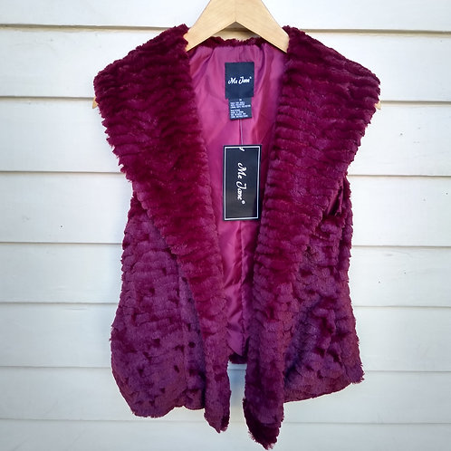Me Jane Burgundy Faux Fur Vest, new with tags, Size M