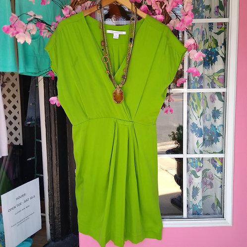 Diane von Furstenberg Green Silk Dress, Size 8