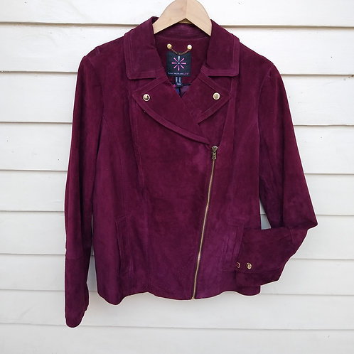 Isaac Mizrahi Wine Suede Jacket, Size 12