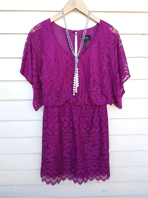 Laundry Wine Dress, Size 4; Silverstone & Pearl Lariat Necklace