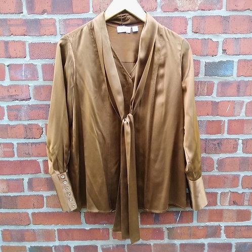 Carlisle Bronze Silk Blouse, Size 8