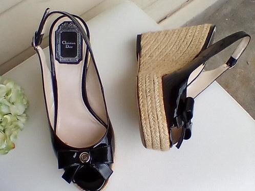 Christian Dior Black Patent Espadrilles, Size 7/7.5