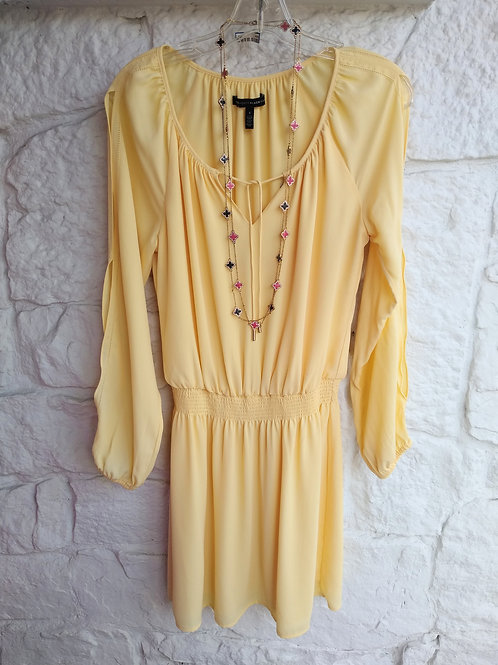 White House Black Market Yellow Dress, Size 4; Black & Coral Necklaces