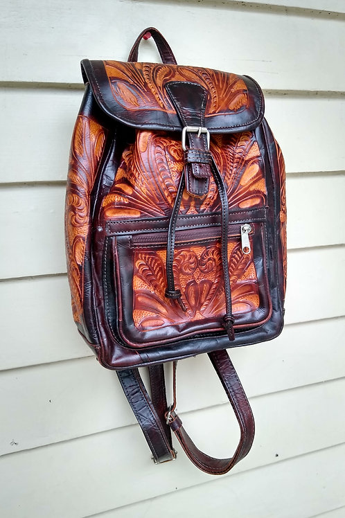 Patterned Leather Backpack