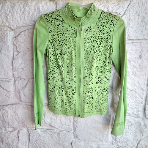 Elie Tahari Lime Suede Jacket, Size S