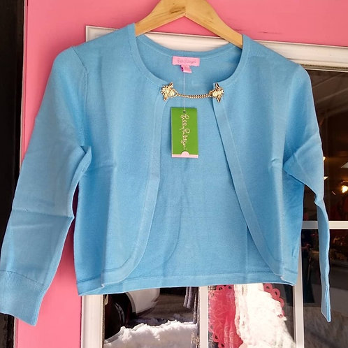 Lilly Pulitzer Delta Blue Flora Simple Cardigan, new with tags