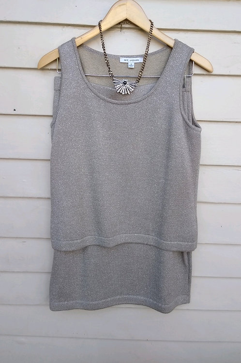 St. John Taupe 2pc, Size S; Multicolored Necklace