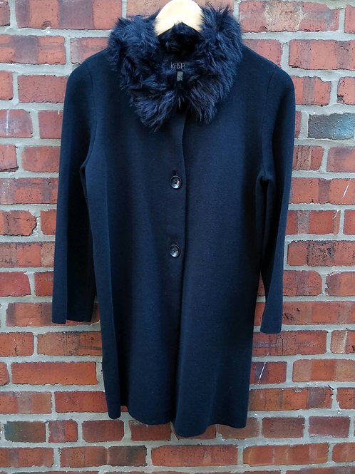 Kasper Black Faux-Fur Trimmed Coat, Size S