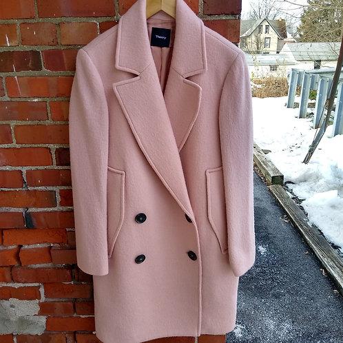 Theory Pink Wool Coat, Size XL