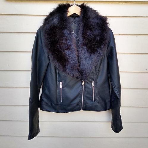 Atmosphere Black Vegan Leather/Fur Trimmed Jacket, never worn, Size 12