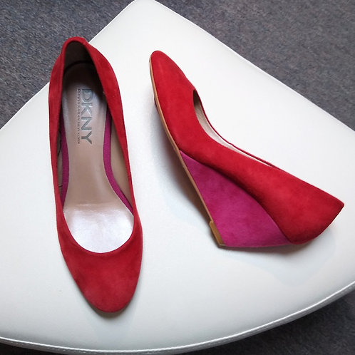 DKNY Red & Pink Suede Shoes, Size 6