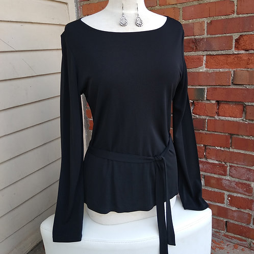 DKNY Black Top with sash, Size M/L; Earrings