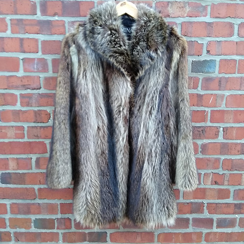 Mina Brown Raccoon Jacket, Size 10, NOW ON SALE