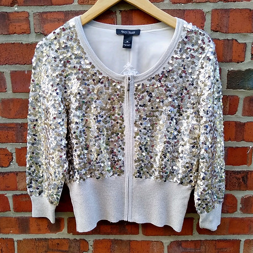White House Black Market Gold Sequined Jacket, new with tags, Size M